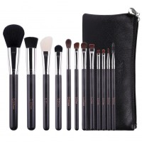 Ducare U1203 12 in 1 Metallic Black Makeup Brush Set